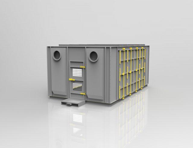 grey media blasting booth enclosure design