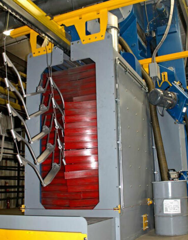 pass through blast machine inside blue lake industries warehouse