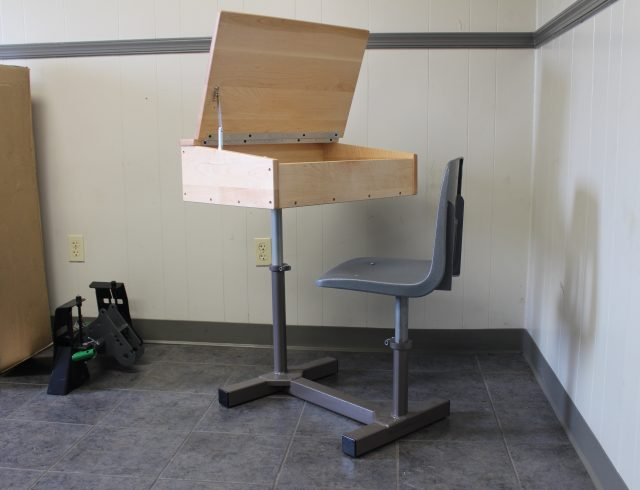 custom manufactured wooden school desk and metal chair