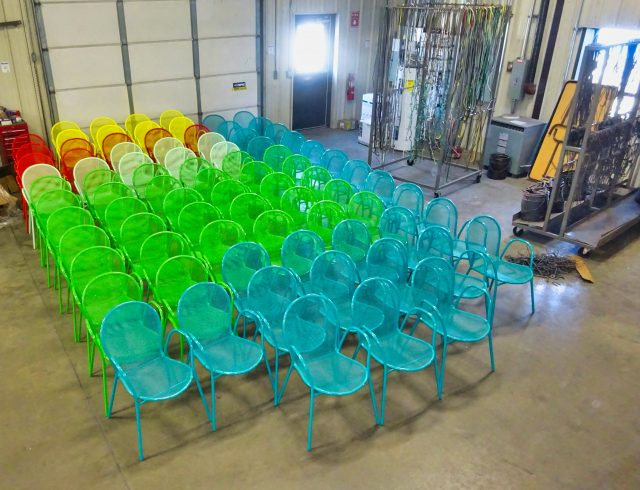 multi colored powder coated outdoor chairs