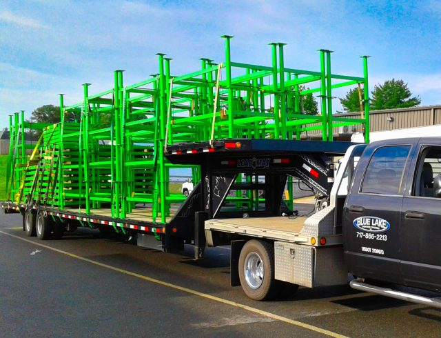 powder coated green frames on truck bed