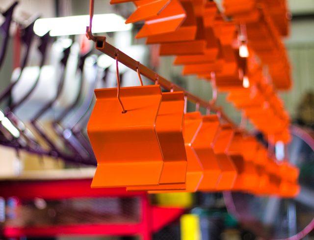 orange custom powder coated z brackets