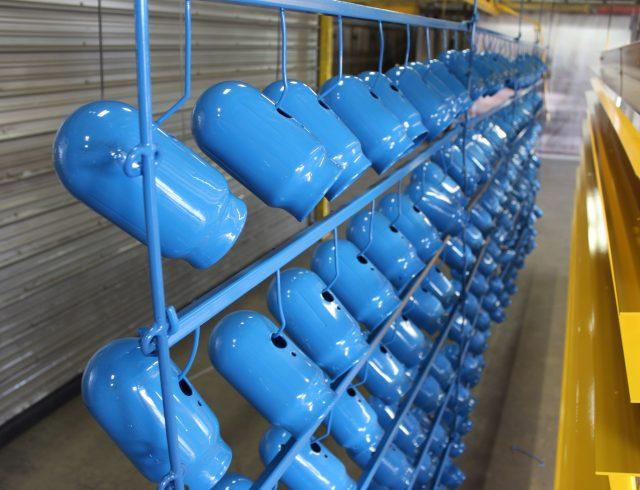 custom powder coated blue cylinder caps