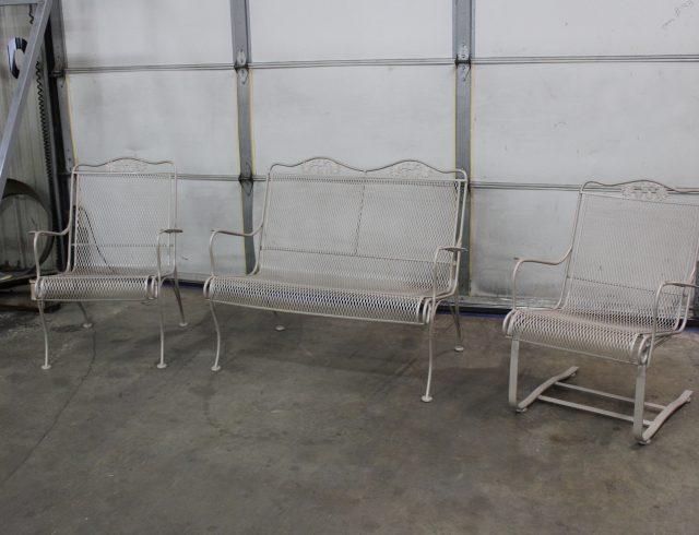 custom manufactured metal chair set